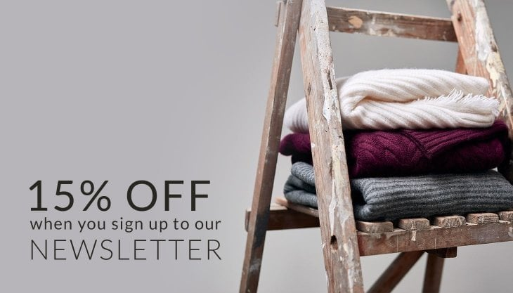 15% off when you sign up to our newsletter